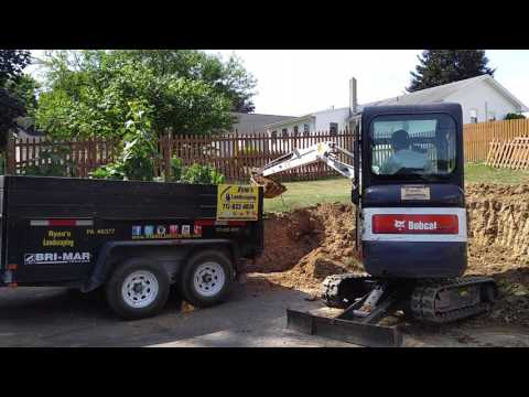 Excavating for retaining wall project in Hanover PA - Ryan's Landscaping