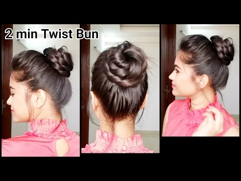 2 min Twist bun//Everyday easy hairstyles for medium to long hair//indian hairstyles