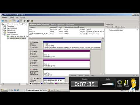 Como crear un RAID 0, 1 y 5 - Windows Server 2008
