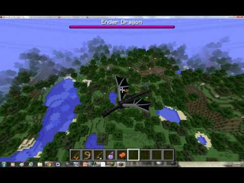 How to ride a EnderDragon in minecraft tutorial (No mods, no MCedit!!) 1.8