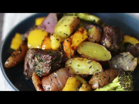 Grilled  Beef And Vegetables With Fresh Herbed Butter