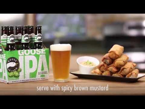 Goose Island Beer-Braised Cheese-Stuffed Bratwurst Egg Rolls   Price Chopper How-To