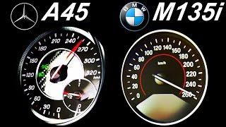 MERCEDES A45 AMG vs BMW M135i Acceleration 0-250 Autobahn top Speed onboard Sound 1er A Klasse