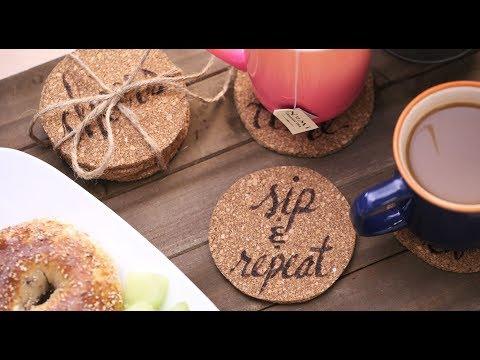DIY Wood Burned Cork Coasters