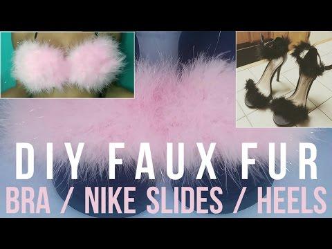 DIY Furry Slides, Heels, & Bra
