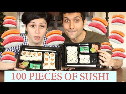 The 100 Pieces Of Sushi Challenge! 🍣