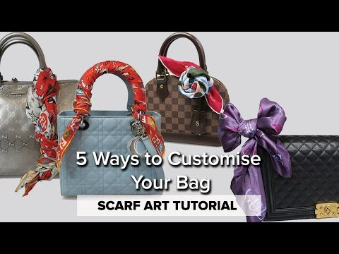 How to Tie a Scarf to a Handbag // 5 STYLES