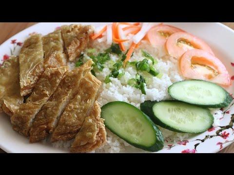 Tau Hu Ky Cuon Tom Chien Gion (Crispy Bean Curd Shrimp) with Broken Rice Recipe