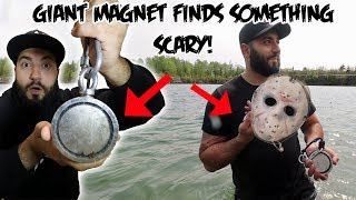 I FOUND SOMETHING SCARY WHILE MAGNET FISHING WITH A GIANT MAGNET!
