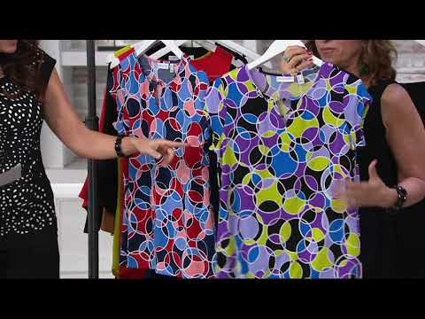 Susan Graver Printed Liquid Knit Top with Keyhole Trim on QVC