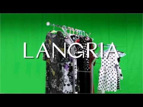 LANGRIA Collapsible Adjustable Single Rail Rolling Garment Rack Demo Video