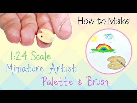 Miniature Artist Palette & Brush Tutorial (actually works!) | Dollhouse | How to Make 1:24 Scale DIY