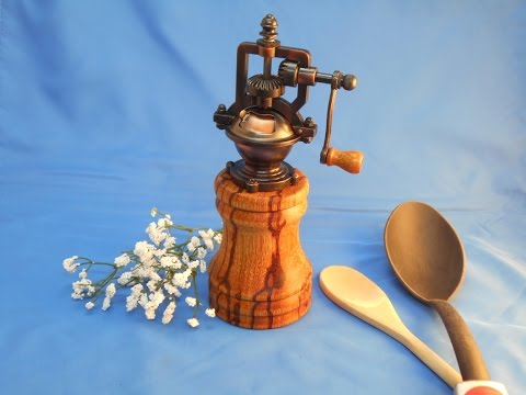 Turning an antique peppermill
