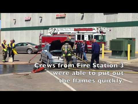 Car fire in Menards parking lot