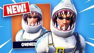 Fortnite Legendary Chomp Sr. Shark Skin + Shark Fin Back Bling! (Fortnite Battle Royale)