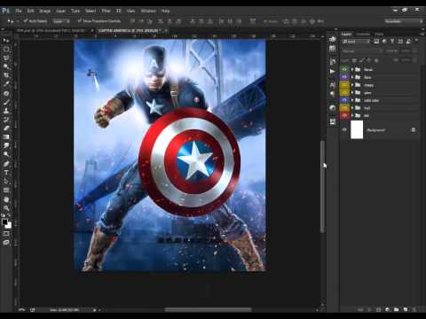 Photoshop tutorial  how to Make Photo Manipulation Movie Poster | Captain America