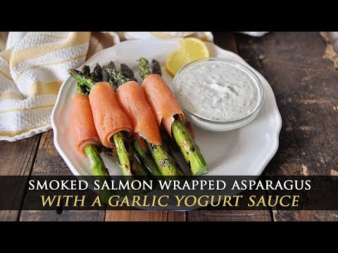 Grilled Asparagus Wrapped in Smoked Salmon & Dip Recipe