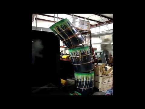 Halloween Prop Tipping Barrel Prop - 3 Stack Toxic Barrels, Green Slime