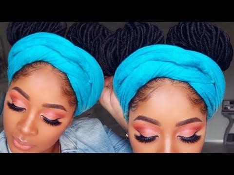 Summer Peach Eye Makeup Tutorial | Fun Double Bun Crochet Protective Style