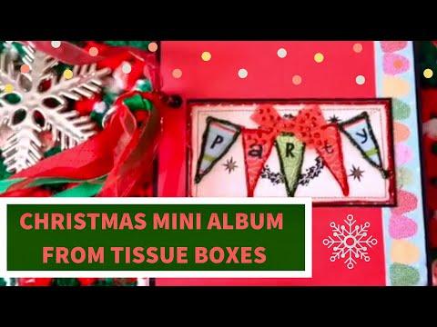 Christmas Mini Album using Recycled Tissue Boxes