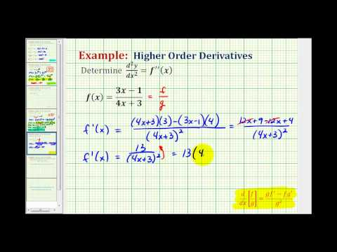 Ex 6:  Determine Higher Order Derivatives Requiring the Quotient Rule