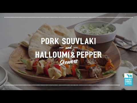 Pork Souvlaki with Halloumi Pepper Skewers   2018 Milk Calendar