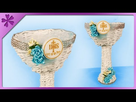 DIY How to make paper wicker chalice, first communion gift (ENG Subtitles) - Speed up #477