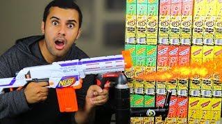 EXPERIMENT!! NERF FLAMETHROWER MOD VS 1000 SPARKLERS!! DANGEROUS!! *MASSIVE EXPLOSION*
