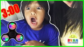 Do not spin a fidget spinner at 3am or 3pm! Omg So Scary 3am challenge with Ryan ToysReview!