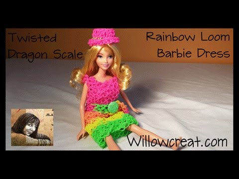 Twisted Dragon Scale - BARBIE DOLL DRESS on the Rainbow Loom