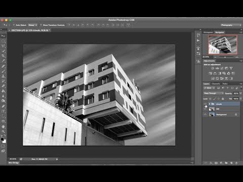 Adding clouds and long exposure effect in photoshop
