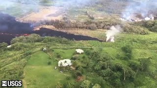 Aerial view of fissure 17 around 4:30 p.m. Sunday (USGS HVO)
