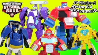 Transformers Rescue Bots Toy Adventures 30 Minute Super Collection! Optimus Bumblebee Chase & Blades