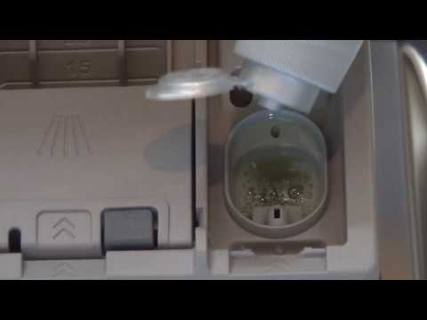 How to : refill and adjust rinse aid settings on a Siemens IQ Dishwasher.