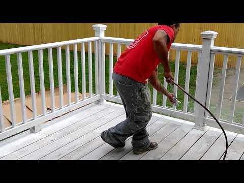 Spraying a Deck.