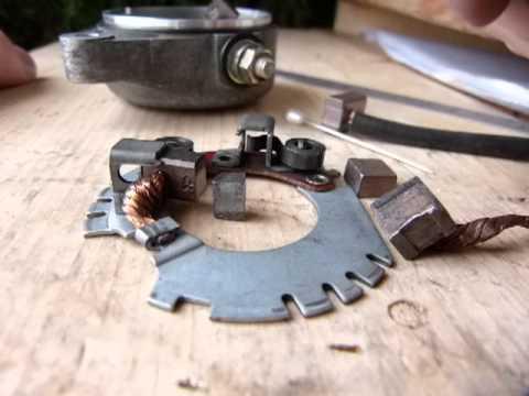 Service a starter motor: worn brushes