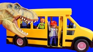 School Bus Children Go On Field Trip To Jurassic World Dinosaur Land With T-Rex And Fun ABC Song