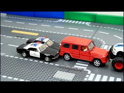 Police vs bad guys. Police chase video for kids.