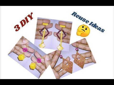 3 reuse DIY Earrings | Easy craft ideas