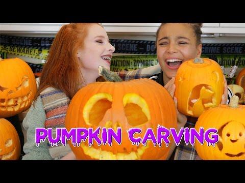 Halloween Pumpkin Carving Vlog / How to Carve a Pumpkin Face | NiliPOD