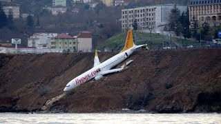 Drone Footage: Plane Hangs Off Cliff after Skidding Off Runway in Turkey