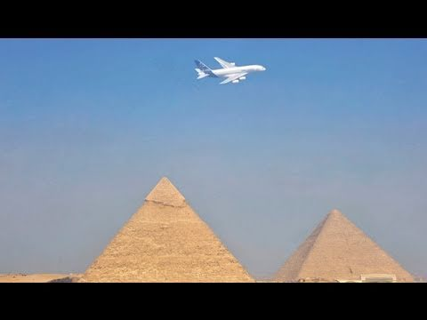 A380 fly-by Egyptian Pyramids and in Cairo Airport