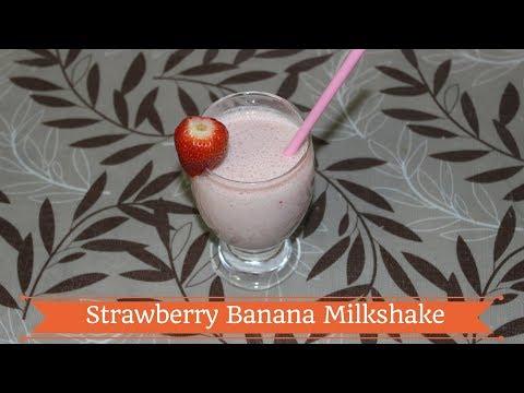 Strawberry Banana Milkshake - Milkshake Recipe - Strawberry Banana Smoothie -Quick-Easy MilkShake-