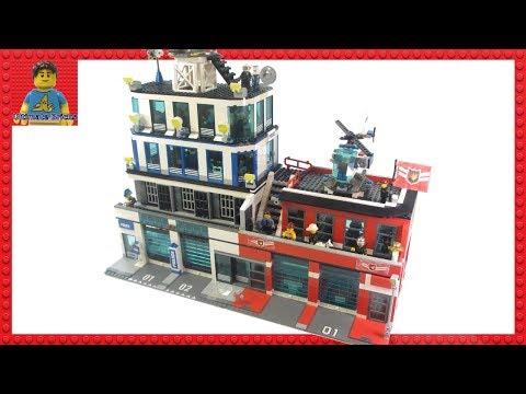 Huge Custom LEGO City Police Station & Fire Station MOC
