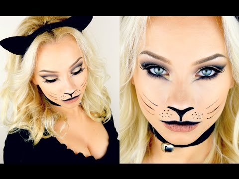 Last Minute Halloween Kitty Cat Makeup Tutorial 2015