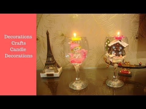 diy candle decoration with wine glass. decoración de velas.
