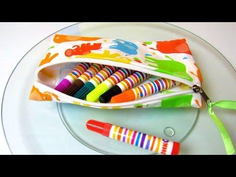 DIY Easy Pencil Case Or Make Up Bag - How To Make No Sew DIY School Supplies - Simple Tutorial