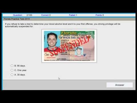 Questions and Answers Permit Test Florida