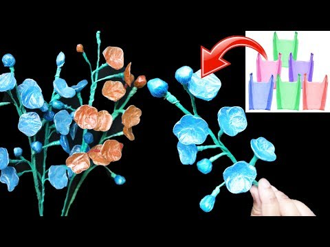 How To Make Blue Cherry Blossoms with Carry Bags ||Plastic Bag Flower |Best out of waste Craft Ideas