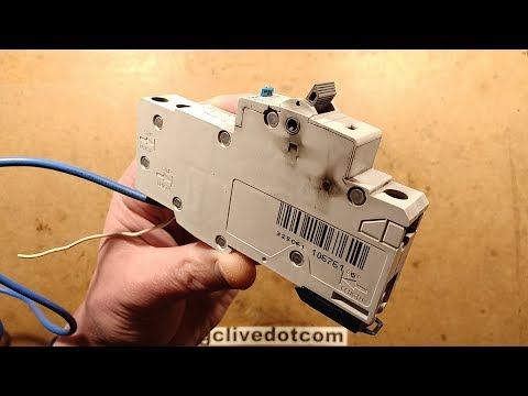 Totally exploded Hager RCBO (RCD/GFI with overcurrent trip)